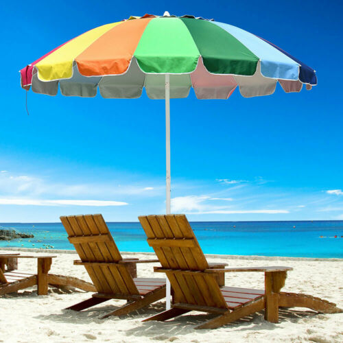 8/' Rainbow Umbrella Patio Outdoor Sunshade 16Ribs Crank Tilt UV Block Beach Pool