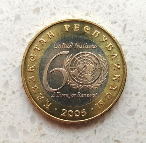 100 Tenge BI-METTALIC BIMETAL coin *UNITED NATIONS 60 Years*2005*UNC KAZAKHSTAN