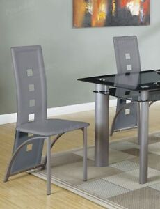 Poundex Dining Side Chair Long Back Metal Frame Legs Grey ...
