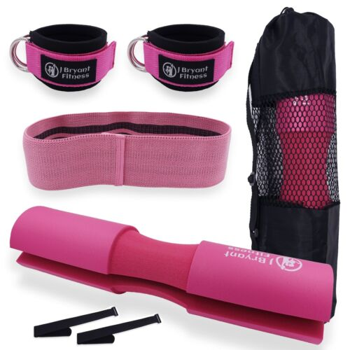 Barbell Pad with Ankle Strap and Hip Band Set For Cable Machine Squat Hip