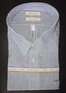 Roundtree-Yorke-Gold-Label-Dress-Shirt-Blue-Gray-Striped-20-36-37-TALL-NWT