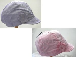 Girls-Cotton-Broderie-Anglaise-Sun-Summer-Hat-Pink-or-Lilac-1-3-4-8-8-12-Years