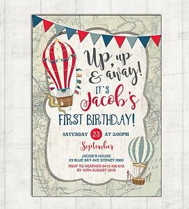 Image Is Loading Retro Hot Air Balloon 1st Birthday Invitation Adventure