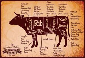 Beef-Cuts-Rind-Blechschild-Metallschild-Schild-gewoelbt-Metal-Tin-Sign-20-x-30-cm