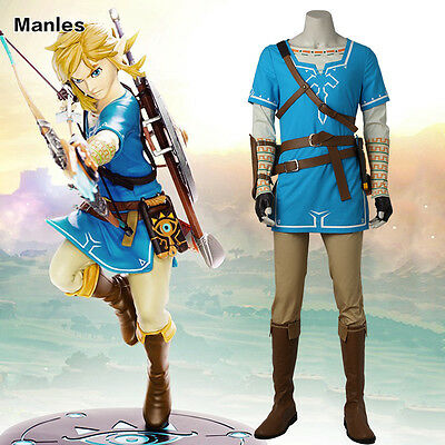 The Legend Of Zelda Breath Of The Wild Link Costume Cosplay Wiiu Game Outfit Ebay