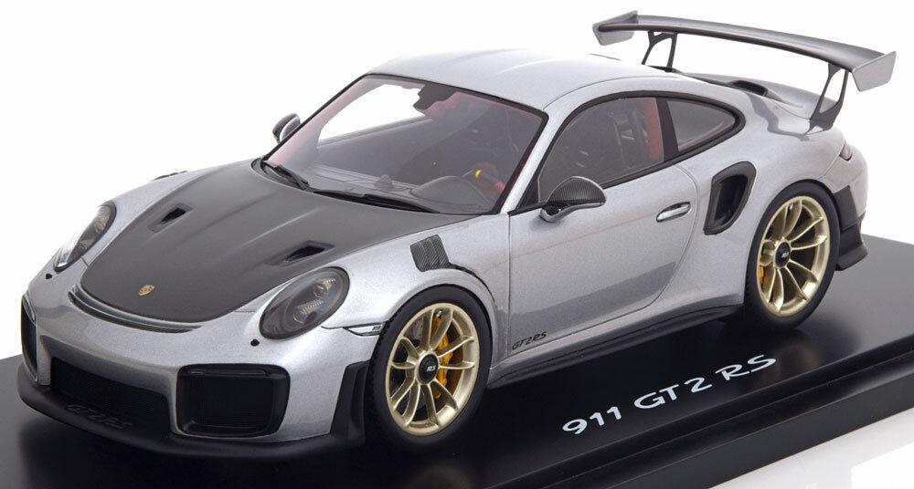 Spark Porsche 991 Gt2 Rs Plata Negro con Pantalla Dealer Edition Le991 1 18