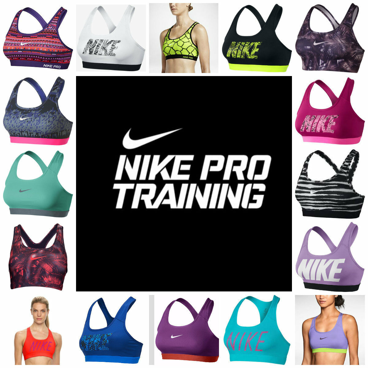 NIKE PRO Womens Sports Bras Asst colors Patterns XS-XL Med Support NWT Free Ship