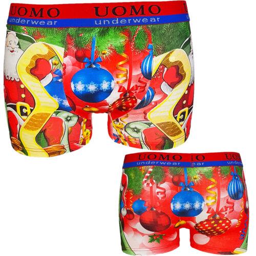 UOMO Boxershorts Herren Retro Shorts Unterhosen Print Weihnachtsmotiv