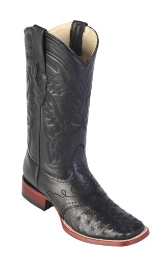 Bootee8210305 Genuine Ostrich Square Toe Cowboy Altos Black Western Los ULSqpzMVG