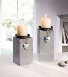2er-Set-Dekosaeule-Kerzenhalter-Silber-Herz-Kerzenstaender-Holz-Grau-Shabby-Kerzen