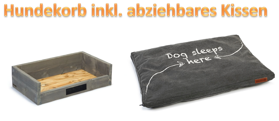 Hundekorb Hundebett Hundewanne Holzhundekorb inkl. Kissen 75 x 45 x 13,5cm NEU