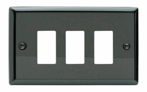 Twin plaque Varilight xipgy 3 Classic Gris Noir 3 Gang Powergrid plaque