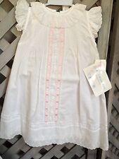 House of Hatten NEW EYELET PINTUCKS RIBBON White Dress Slip Bonnet 6mo 18lbs NWT