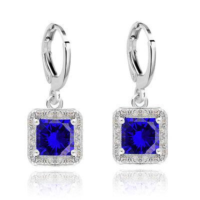 Vintage Design Black Silver Rhinestones Queen Style Zircon  Drop Earrings E1419