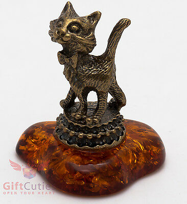 Solid Brass Amber Figurine of Elegant Cat on a Stand with bow knot IronWork