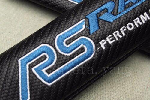 2Pcs RS Racing Carbon Fiber Car Seat Safely Belt Cover Cushions Shoulder Pads