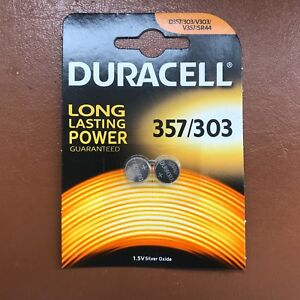 2-x-Duracell-357-303-1-5V-Watch-Battery-D357H-D357-303-V303-SR44-NEW