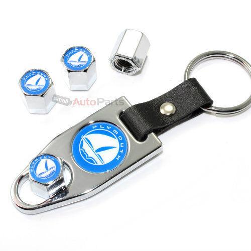 Wrench Key Chain Gift Set Plymouth Blue Logo Chrome Tire//Wheel Stem Valve Caps