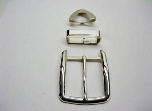 """Sterling silver 925 solid buckle loop and tip 52 grams for 1.5/"""" belt made in USA"""