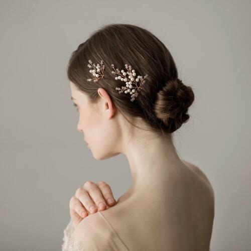 2x Perlen Hochzeit Haarnadel Haarspangen Pin Perlen Kopfschmuck Braut