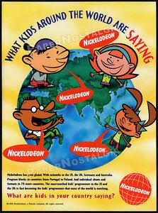NICKELODEON-Around-The-World-Orig-1995-Trade-print-AD-promo-Global-Kids-TV