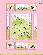 """Susybee's Lal, the Lamb quilt Top Pink 100% cotton 43"""" x 35"""" fabric panel"""