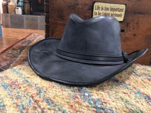 Mens Large Thick Black Leather Western Fedora Pinc