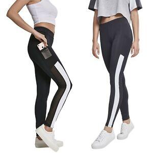 Urban-Classics-Damen-Tech-Mesh-Streifen-Sport-Leggings-Yoga-Pants-Fitnesshose