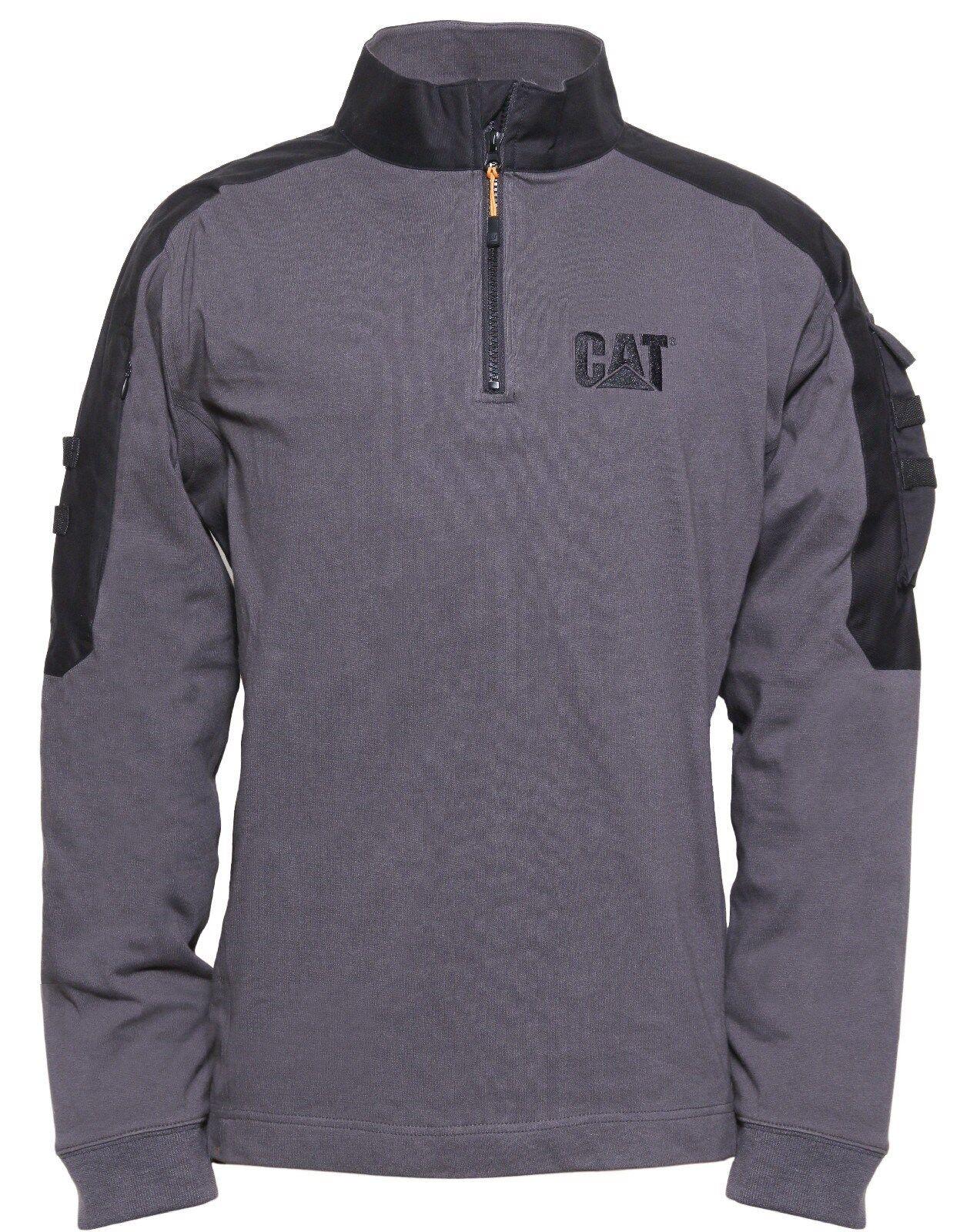 Cat Caterpillar Taktisch Works Herren Grau 1/4 Reißverschluss Arbeitskleidung