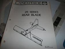 Land Pride Owners Parts Manual 25 Series Rearl Blade