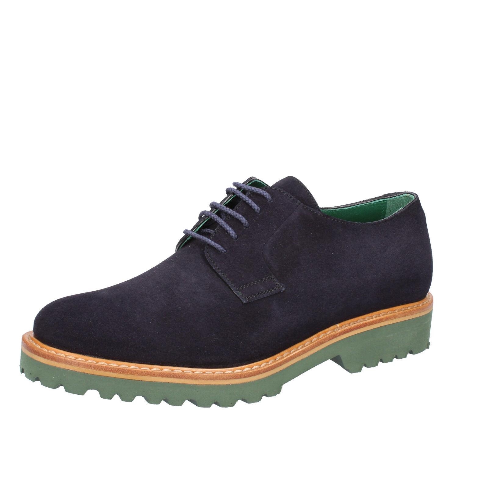 Mens shoes DI MELLA 6,5 (EU 40,5) elegant bluee suede BZ34-C