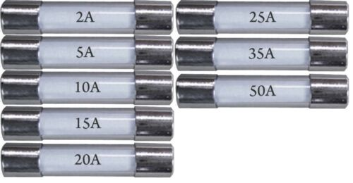 car bike 30mm 2A,5A,10A,15A,20A,25A,35A,50A New mix glass fuses pack of 80
