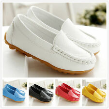 f85408040e5 Boys Girls Kid Casual Soft Peas Leather Slip On Flat Shoes Loafer Fashion  Flats