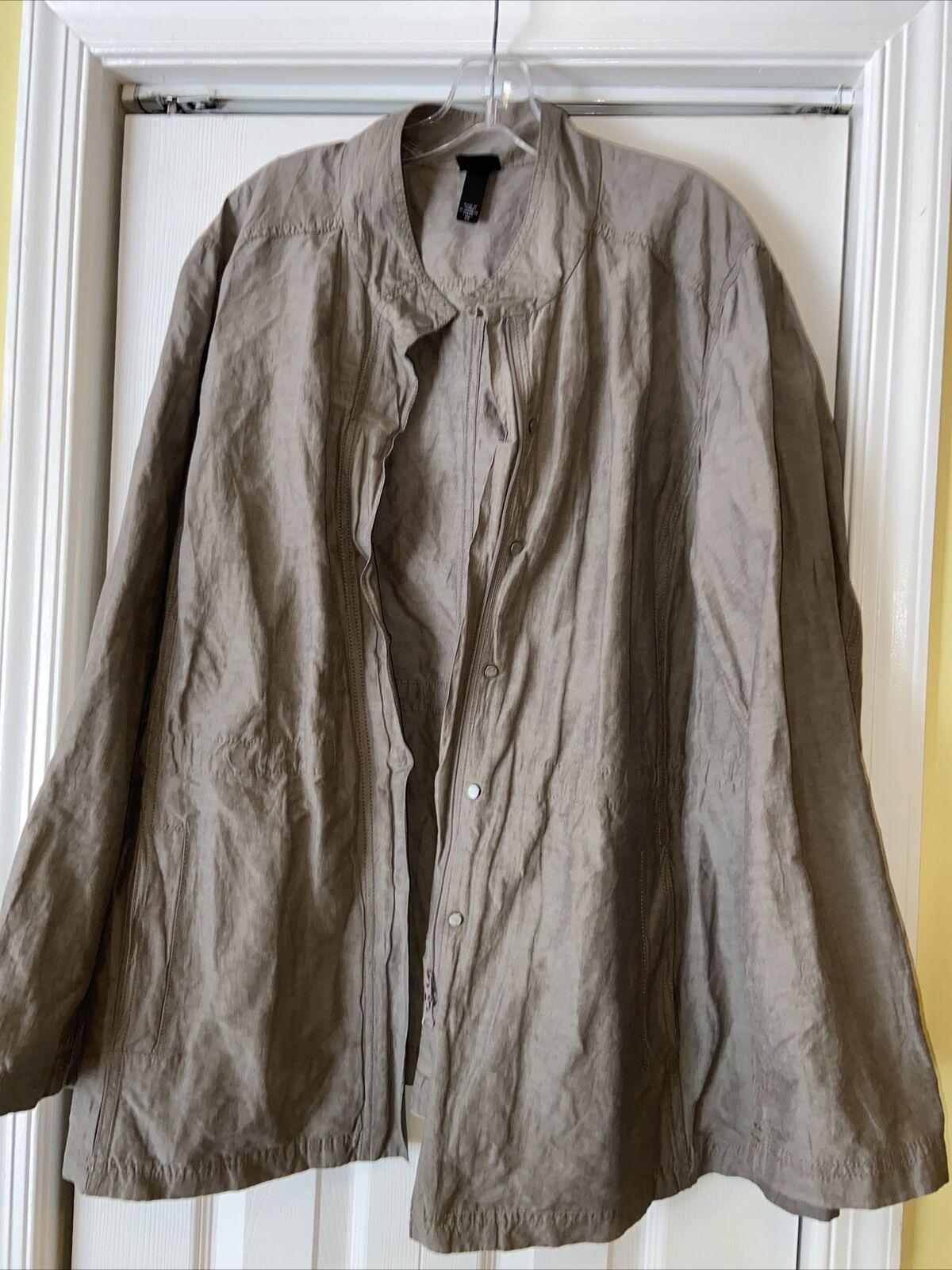 EILEEN FISHER Gray Metallic Cotton Crinkle Jacket Coat Sz 2X