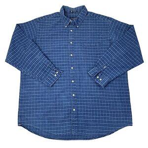 John-Ashford-Mens-Size-2XLT-Tall-Blue-Long-Sleeve-Button-Front-Shirt