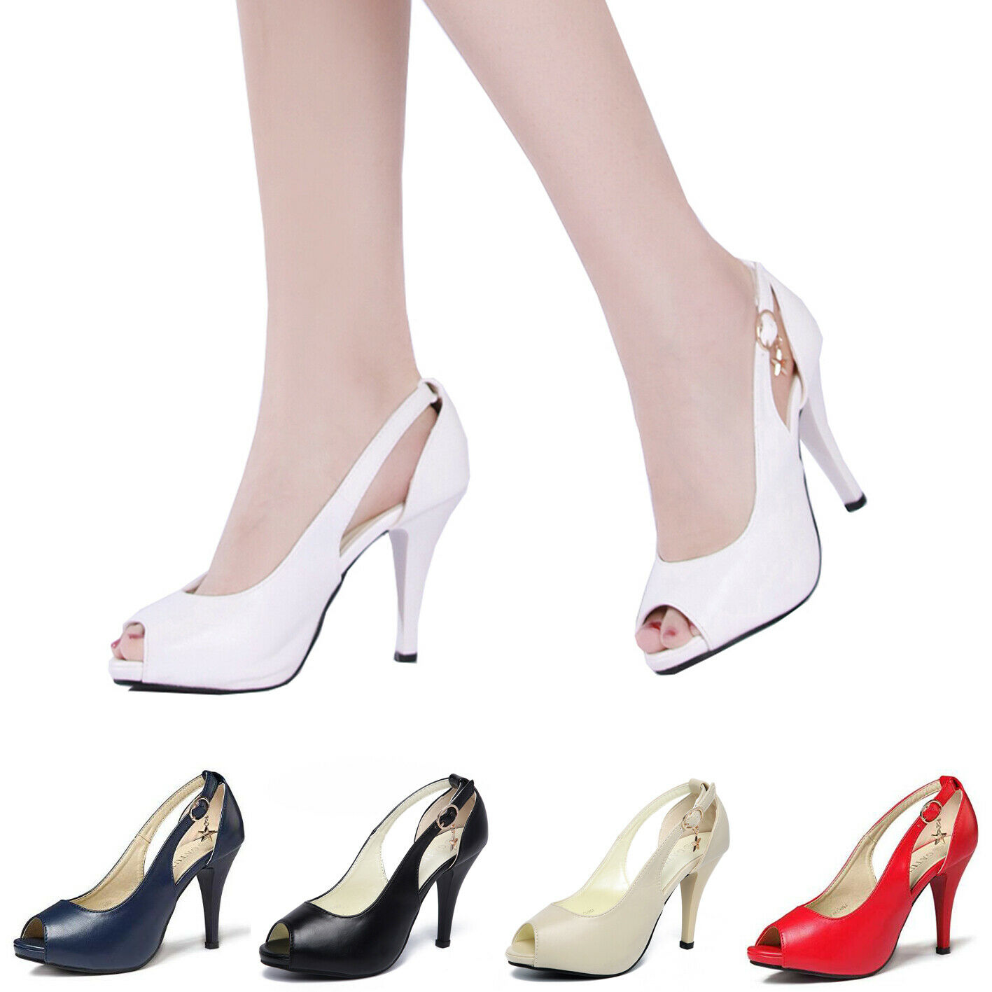 633507eac7b Sexy Women s Peep Toe Strap High Heels Party Prom Pumps Shoes Sandals  Stilettos