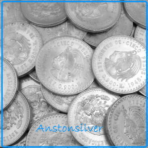 1948 Mexican Cuauhtemoc Mexico Cinco 5 Pesos  90/% BU Silver Coin Uncirculated