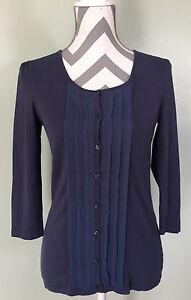 ANN TAYLOR Blue Violet 3/4 Sleeve Pleated Button Shirt Top Blouse Sz M Medium