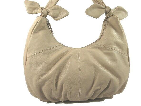 ECHT NAPPA LEDER Tasche ital. HOBO Damen Handtasche Creme NL946C   Schönes Design
