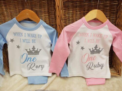Baby pyjamas any age 1 2,3,4,any name birthday boy or girl Blue Pink Soft Cute