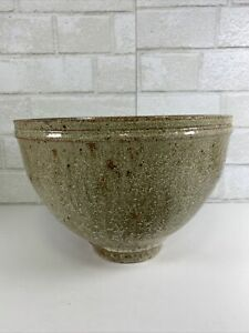 Very-Large-Art-Pottery-Bowl-Signed-Boyd-Brown-Green-Drip-Glaze