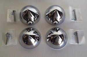 4-Bullet-Nose-dome-Bullet-Hub-cap-custom-centers-NEW-Chrome-C8059