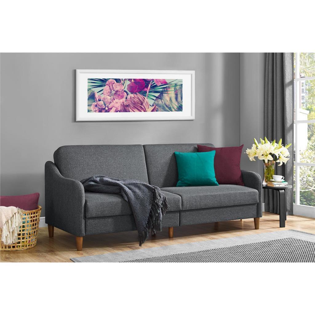 Mid Century Modern Sofa Linen Futon Sleeper Bed Recliner Couch Foam Cushion Gray For Sale Online Ebay