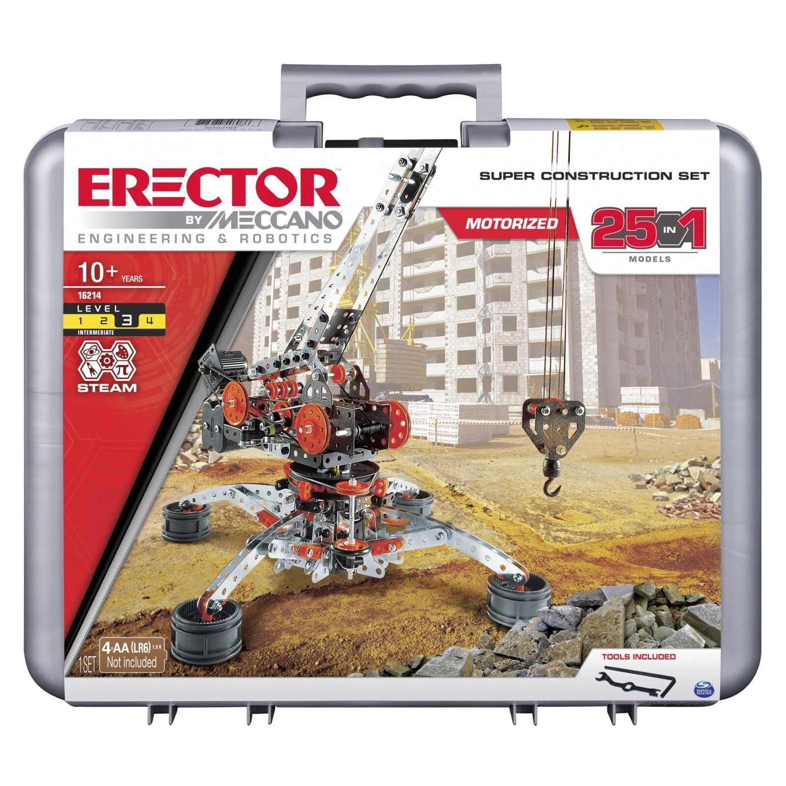 Erector by Meccano Super Construction 25-in-1 Motorized Building Set, STEM Educa