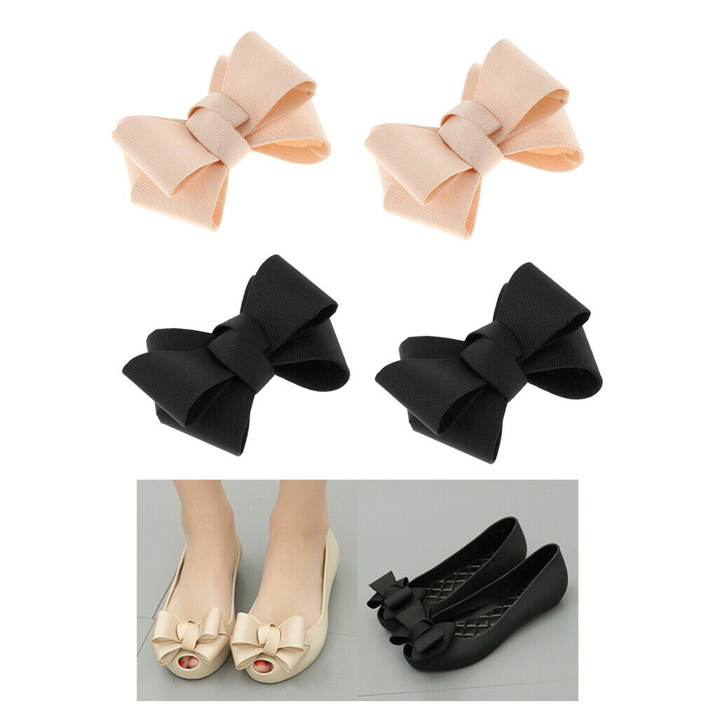 4 Packs Plain Bowknot Shoe Clips Ladies Party High Heel Shoe Charms Buckle