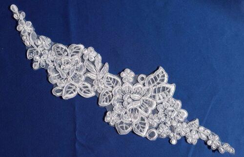 Blanc Broderie Florale Applique Motif Lace Sewing Trim EB0218