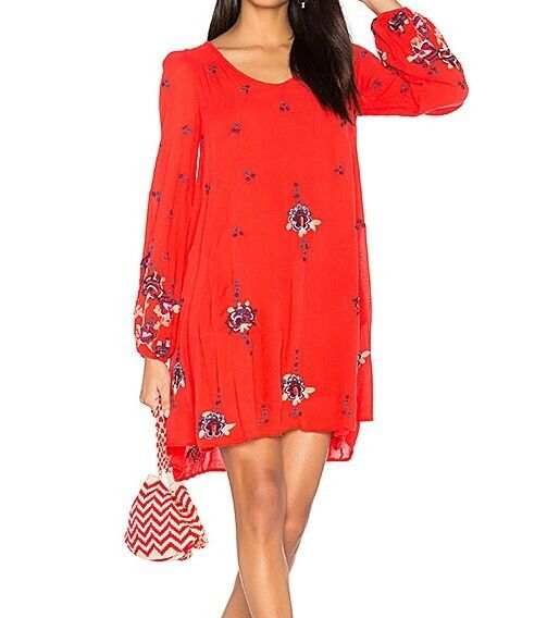 Free People Oxford Mini Dress M Red