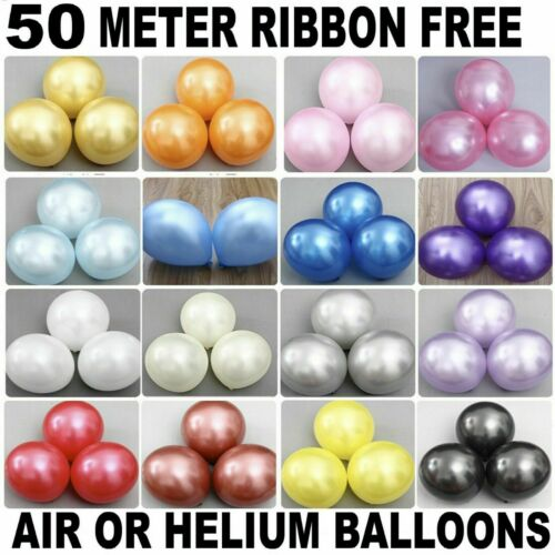 "100 PCS HELIUM Pearlised Latex Balloons 10/"" Wedding Birthday Party Xmas New Year"