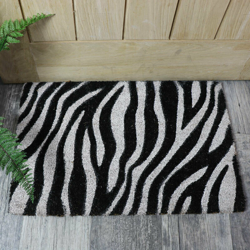 Natural Coir Black White Zebra Print Outdoor Door Mat Home Decor Accessories Ebay