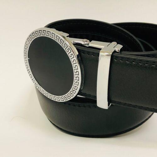 Men/'s Genuine Leather Exact Fit Automatic Silver Buckle Ratchet Dress Jeans Belt